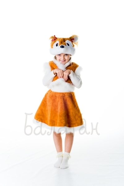 Orange Squirrel animal dress for little girl