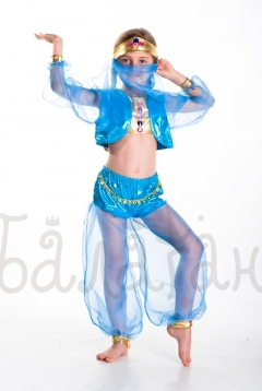 Oriental beauty blue costume for little girl