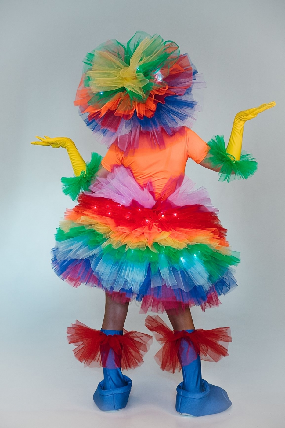 Костюм фьека женский светящийся разноцветный