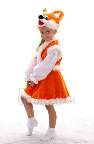 Orange fox animal dress for little girl Halloween costume