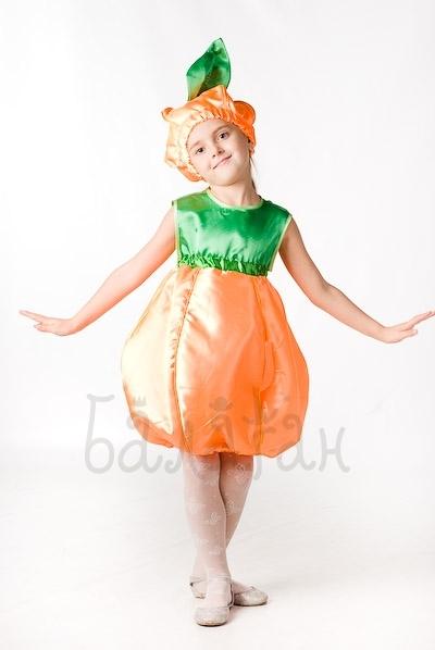 Pumpkin vegetable costume for little girl party dress