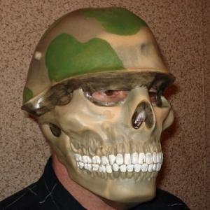 Mask of skull in helmet Halloween style Accessories