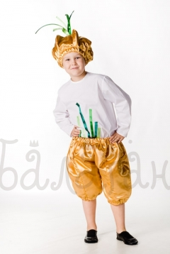 Onion plant costume for a little boy
