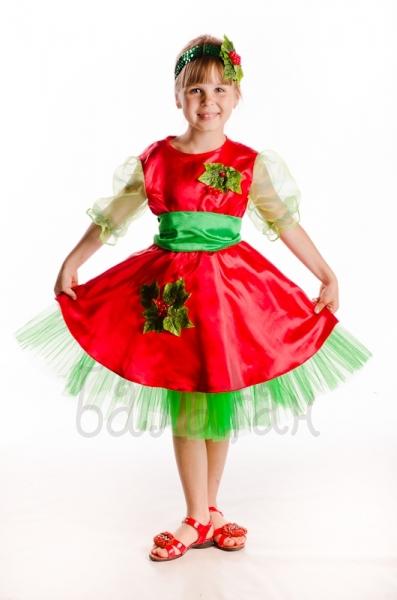 Viburnum berry costume for little girl red dress