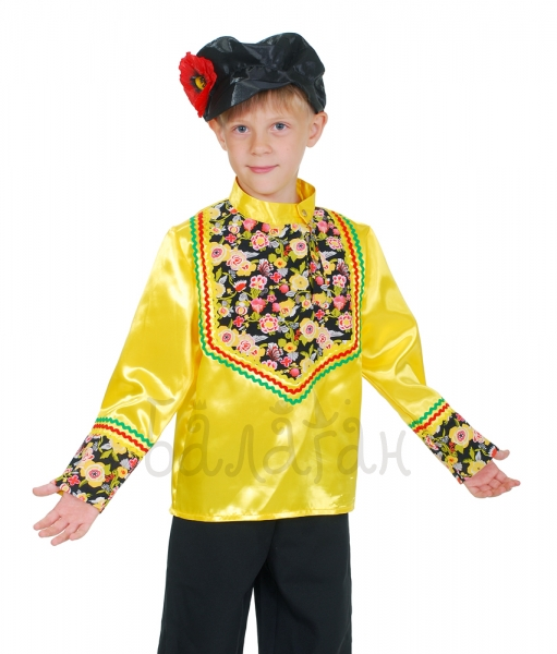 Quadrille square dance costume for little boy with flowers for kids yellow shirt