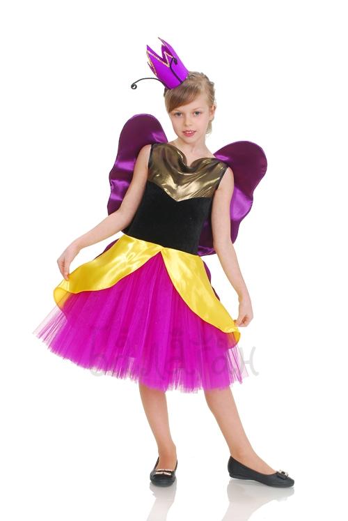 Костюм бабочки-принцессы желто-фиолетовый
