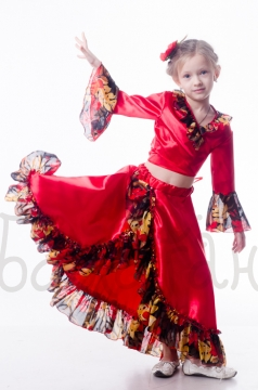 Gipsy girl red costume party dress for little girl