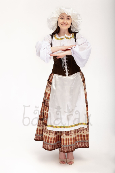 Traditional Scandinavian costume for woman with a hat