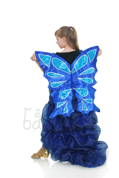 Little butterfly long blue dress With wings for little girl
