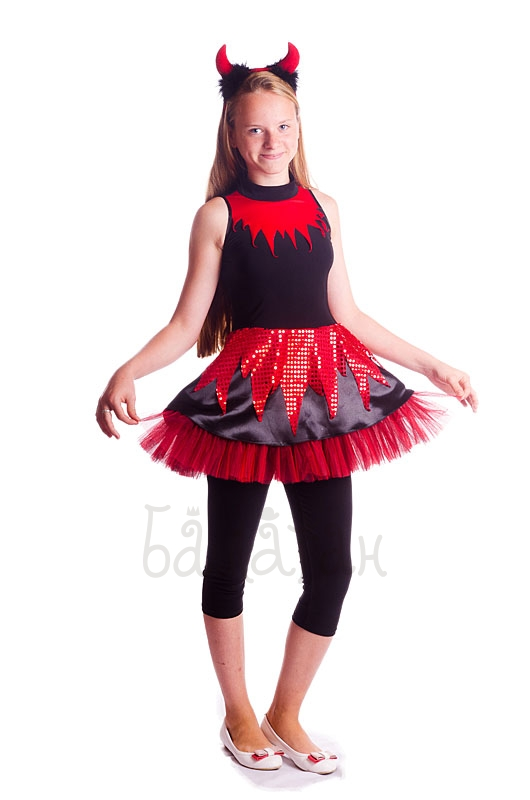 Little sweet Devil girl costume Child Black and Red Halloween costume