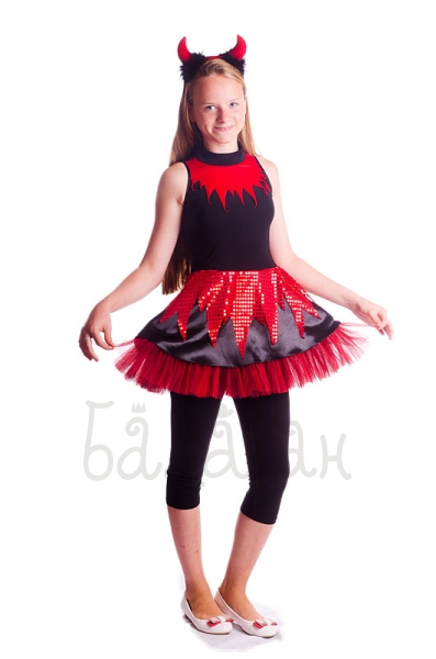 Little sweet Devil girl costume Child Black and Red Halloween costume